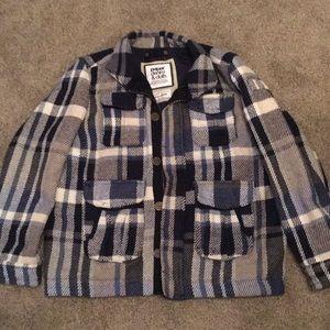 Paper denim & cloth heavy plaid coat jacket